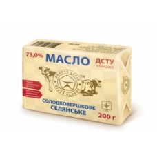 Масло солодковершкове селянське 73% 200г
